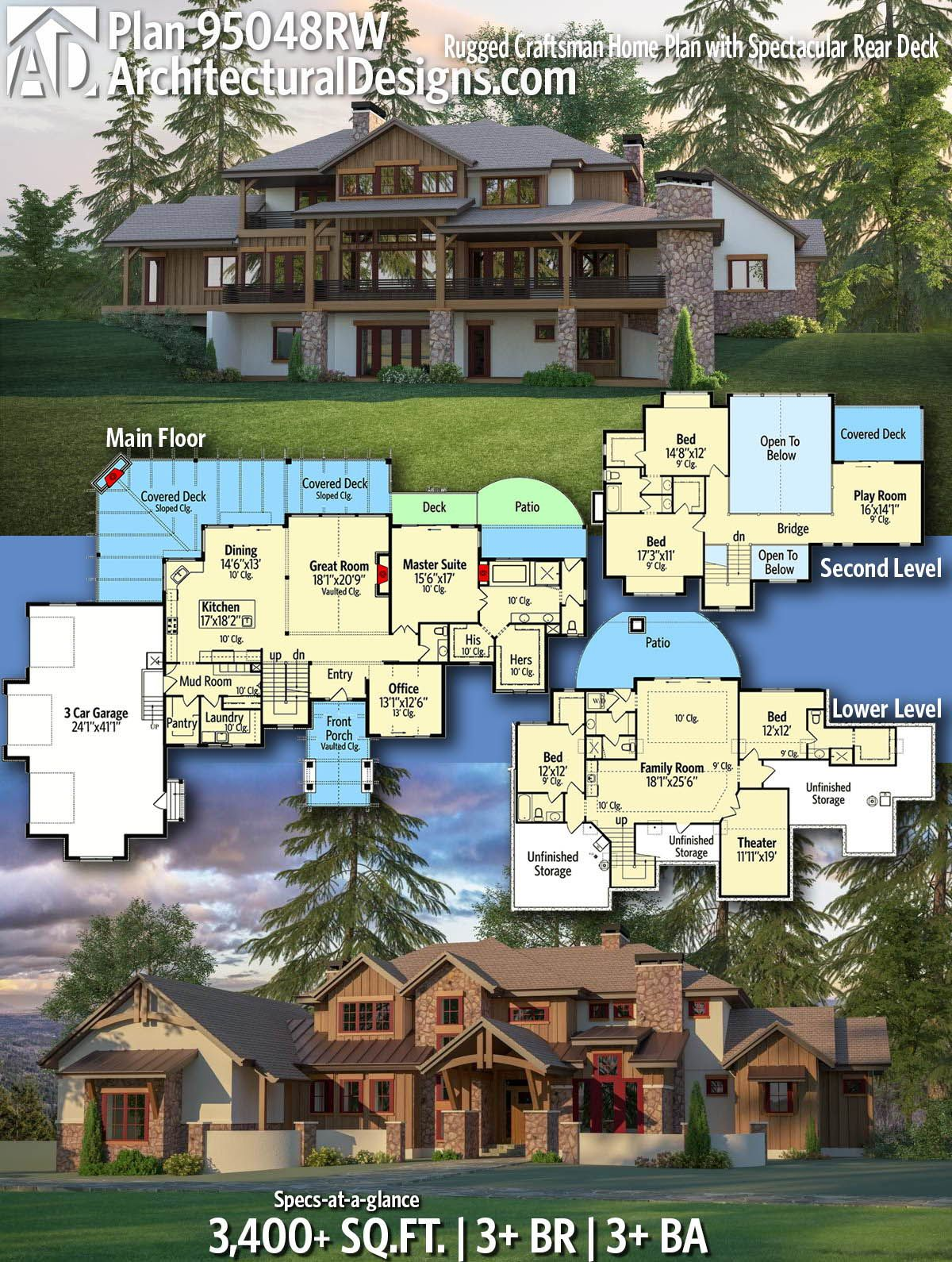 Plan 95048rw Rugged Craftsman Home Plan With Spectacular Rear Deck Craftsman House Plans Rustic House Plans Craftsman House