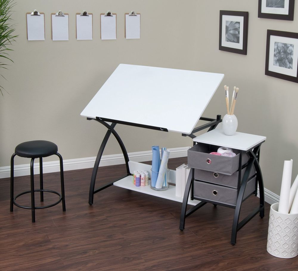 Fabulous Drafting Drawing Table Architect Desks Stool Drawers Black Bralicious Painted Fabric Chair Ideas Braliciousco