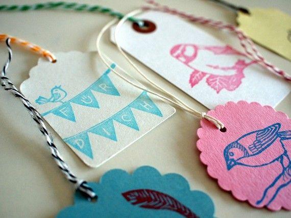 all my birds  6 handprinted gift tags von SiebenMorgen auf Etsy, €6,50