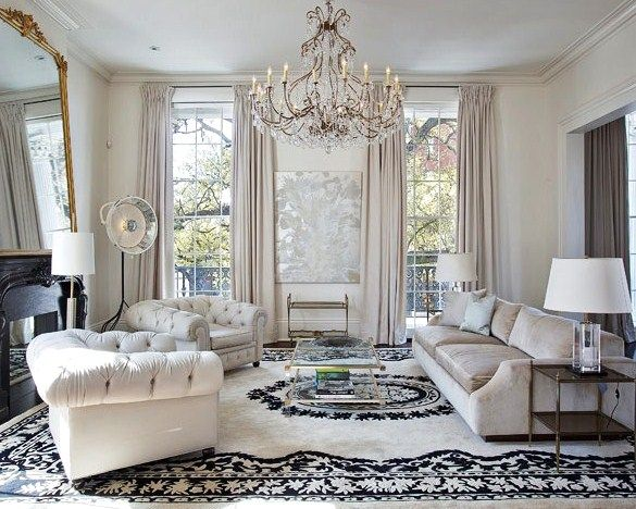 Ultra Glam And Gorgeous Living Rooms With Images Chandelier In