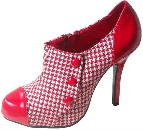 15% off limited time #Ebay Item w/ #FREE US Shipping! Please see other listings for more sizes!   Red White Houndstooth High Heel Retro Pump Bootie also in black!