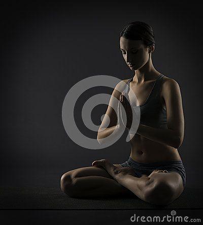 yoga woman meditate sitting in lotus pose silhouette of
