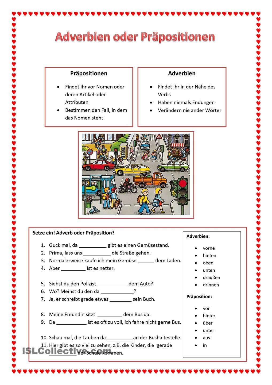 Adverbien oder Präpositionen | Schule | Pinterest | Schreiben ...