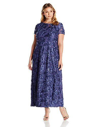 2d020aa053f Alex Evenings Women s Plus Size Long A-Line Rosette Dress with Short Sleeves