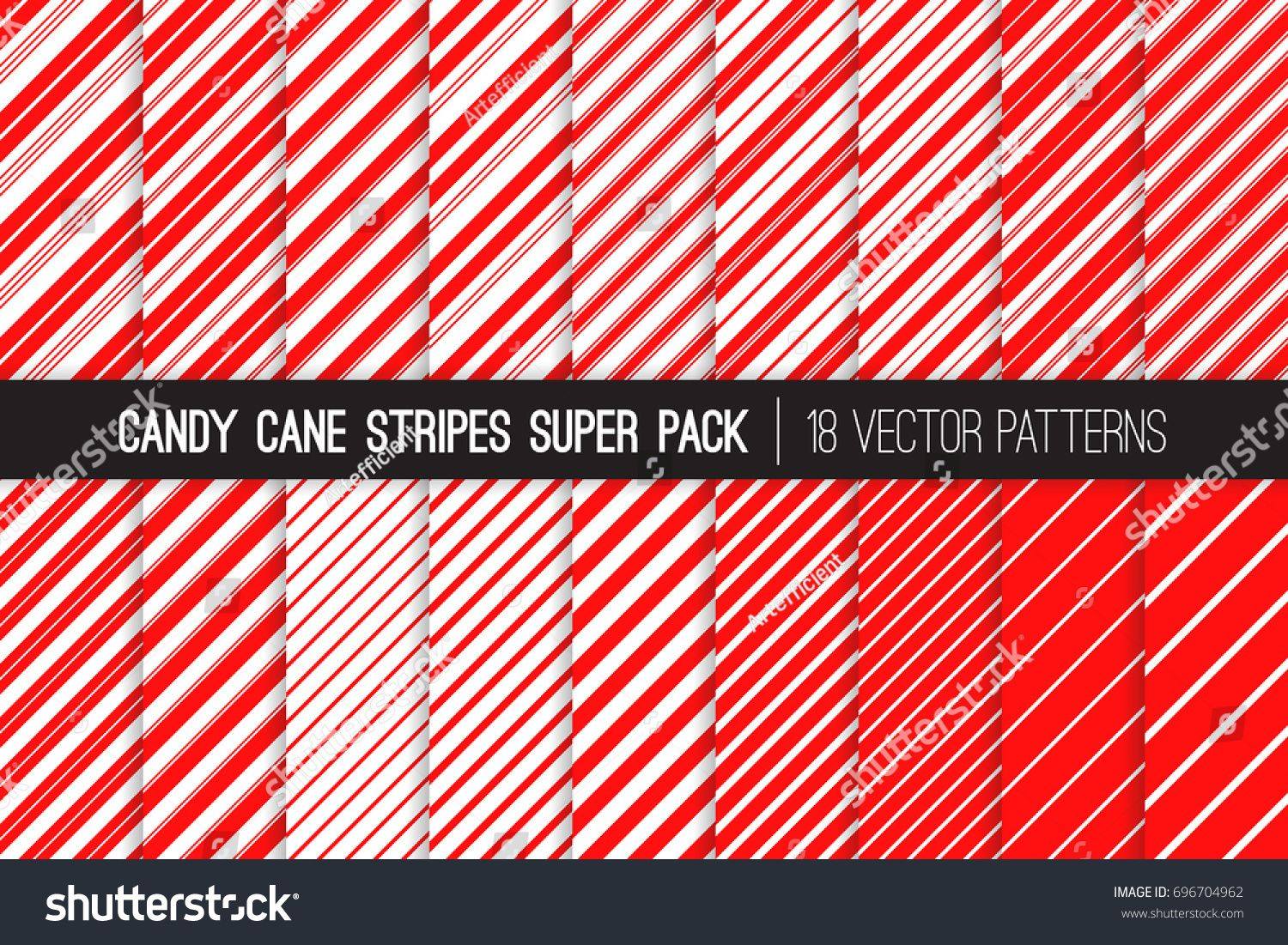 Super Pack of Christmas Candy Cane Stripes Vector Patterns