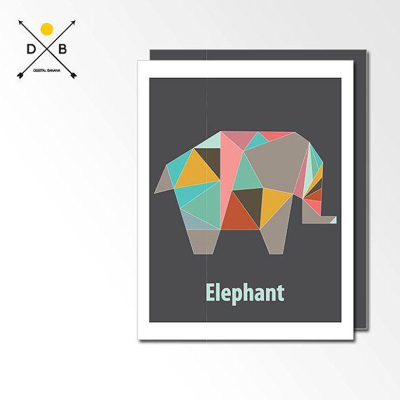 Vivero arte elefante, Origami animales, cartel geométrica, Playroom pared arte, imprimible, descarga instantánea, niños decoración, regalos ...