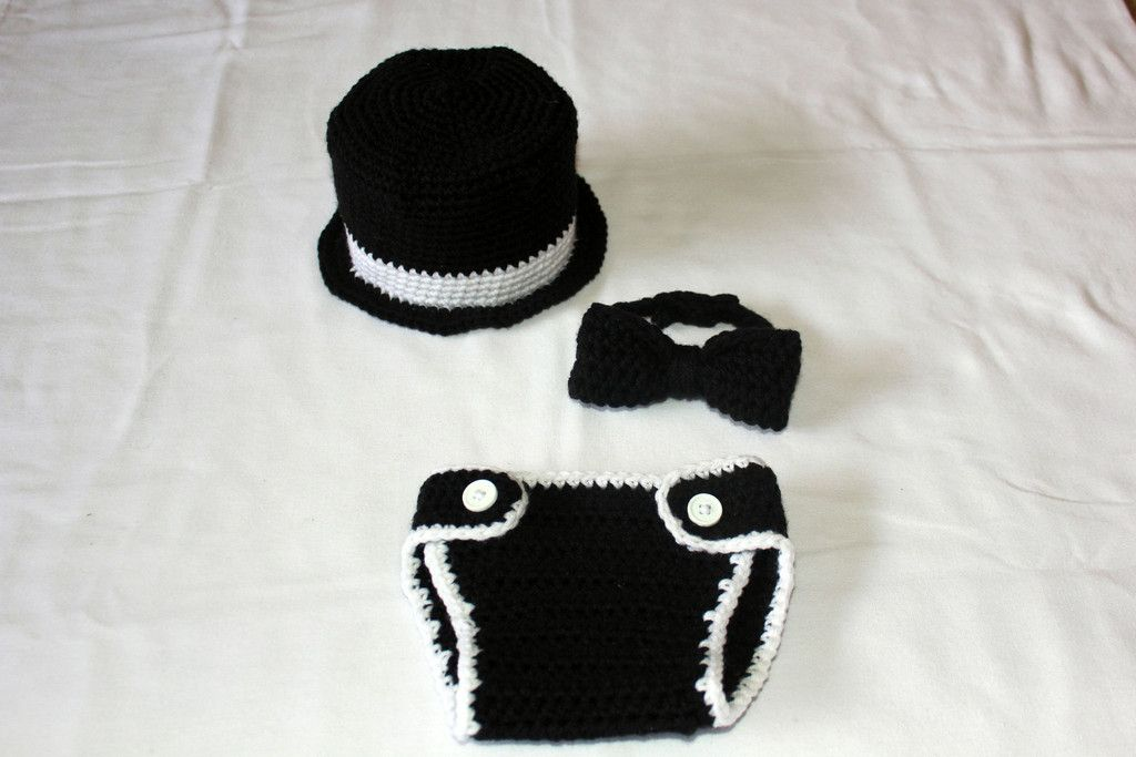 Crochet Baby Tuxedo Top Hat, Bow Tie & Diaper Cover Set - Tiny Tux ...