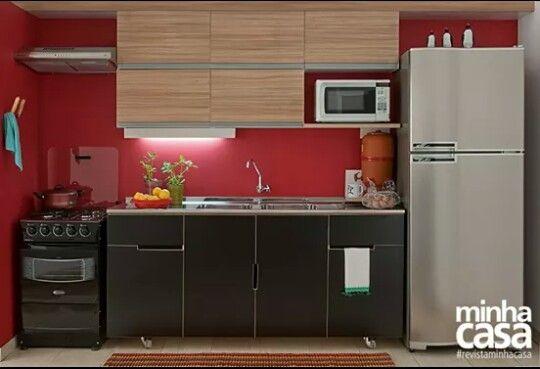Cozinha   vermelho   preto #revistaminhacasa