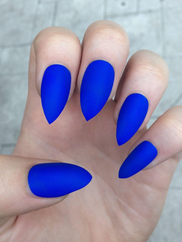 Stiletto nails, fake nails, matte nails, blue press on nails ...
