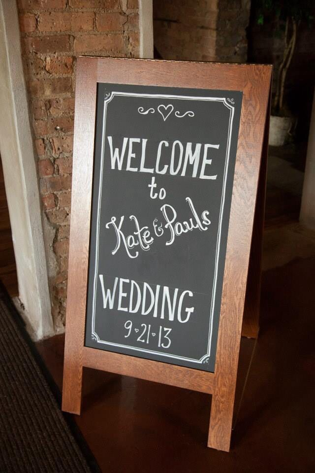 Chalkboard messages at wedding