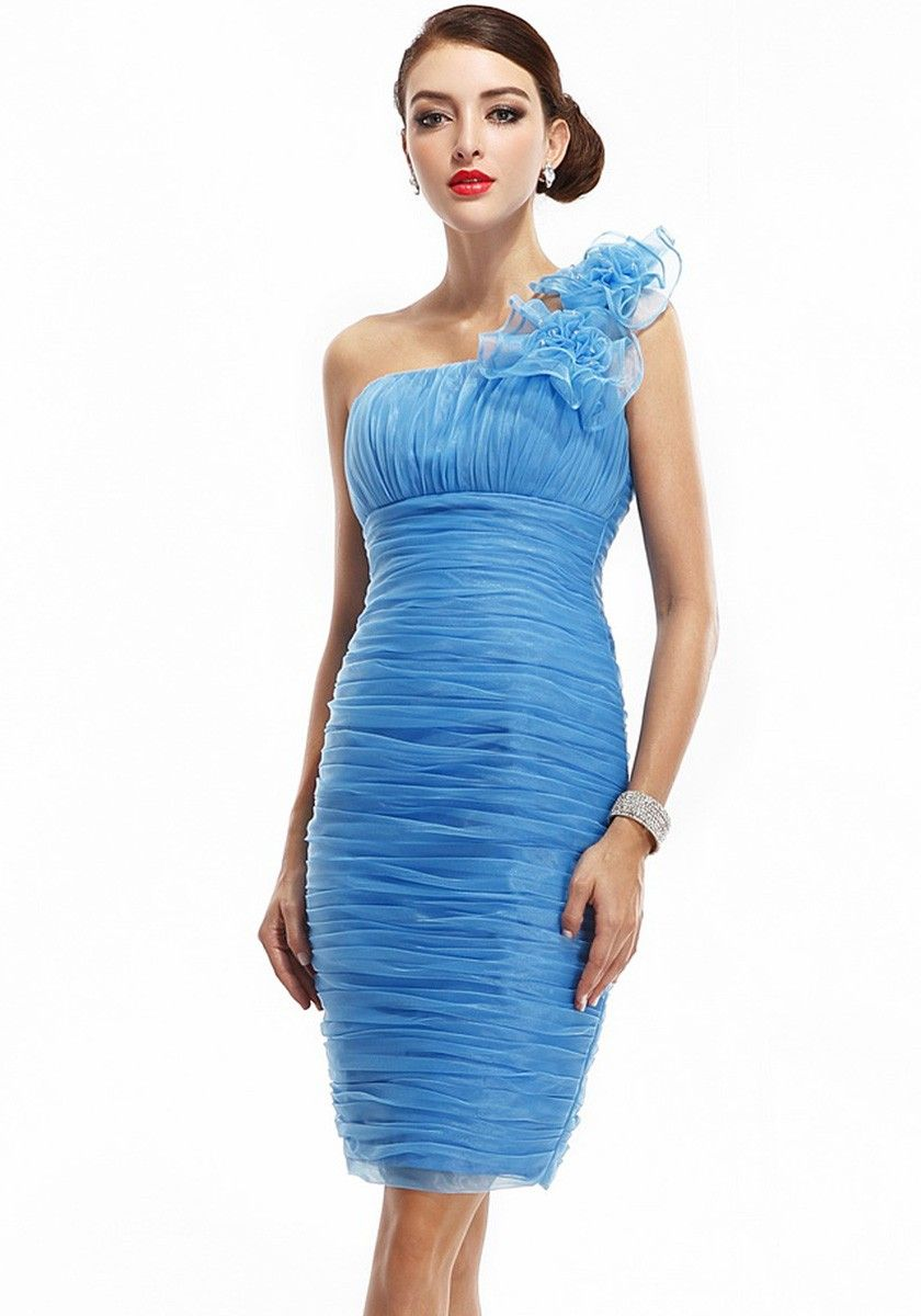 One Shoulder Short Organza Sheath/Column Blue Bridesmaid Dresses ...