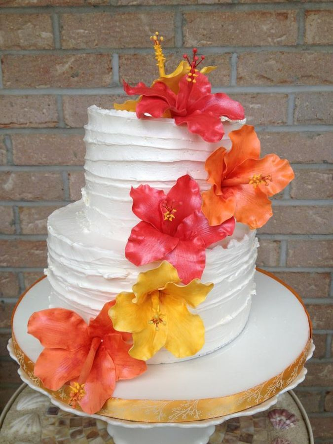 Shabby Chic Style Cake With Handmade Hibiscus Flowers It Was The First Time I Made Hibiscus Flowers Luau Cakes Hibiscus Cake Hawaiian Cake
