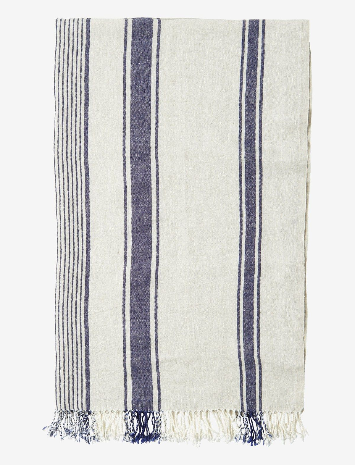 Hardwearing, washed linen beach towel with a woven navy stripe. The linen is washed for suppleness and a textured, slightly worn in feel. Selvedge edges. Tassles at end. Made by a traditional, family run company in Lithuania. Linen, being hollow fibred, is much more absorbent and drying than cotton.
