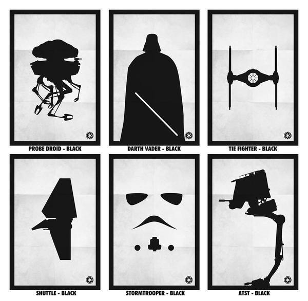 Black & White Star Wars Poster Set   Laundry room   Star
