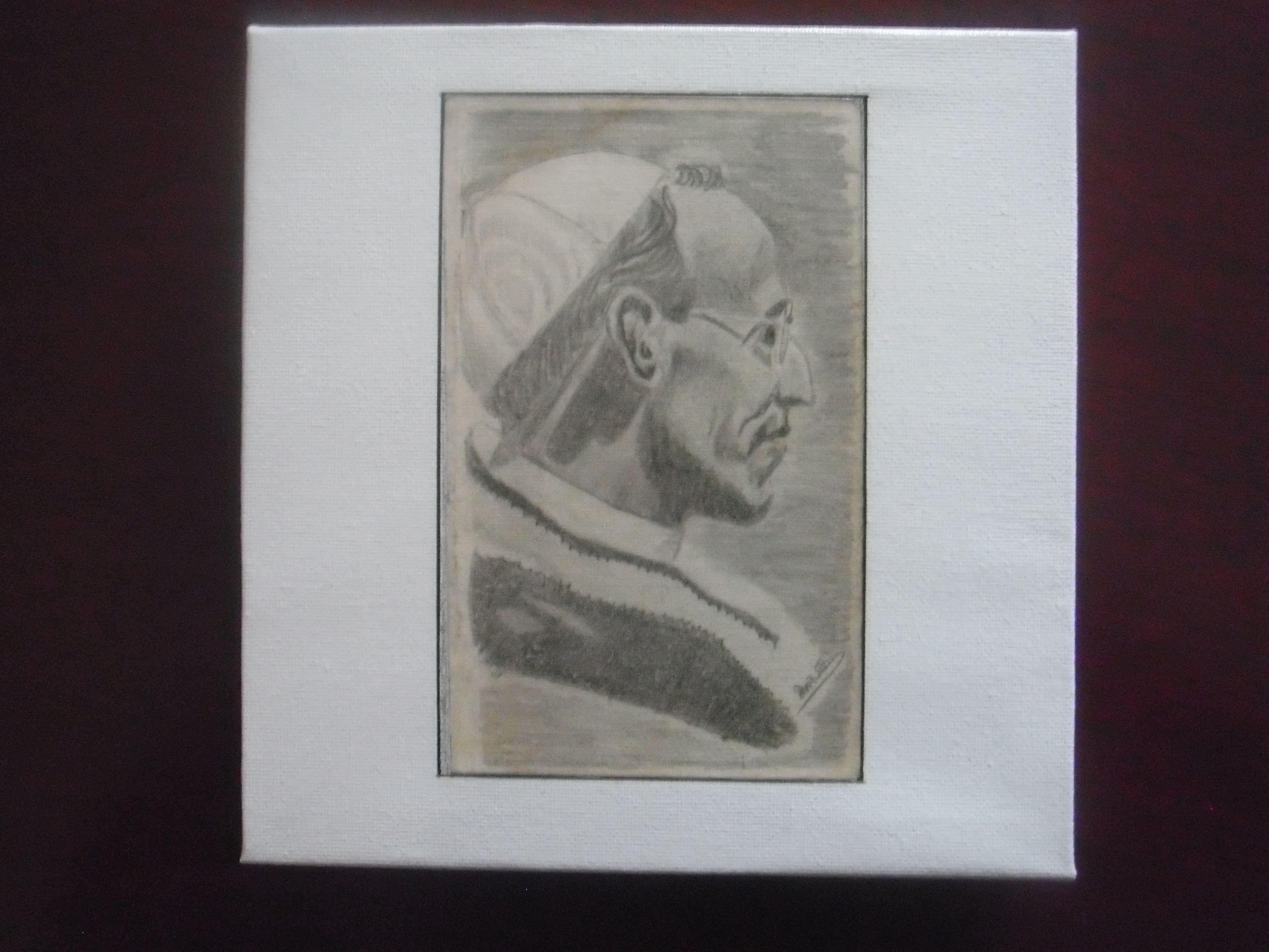 een los in een boek gevonden echte potloodtekening,  geplakt en gelakt op een schildersdoekje, voor zr dorothea