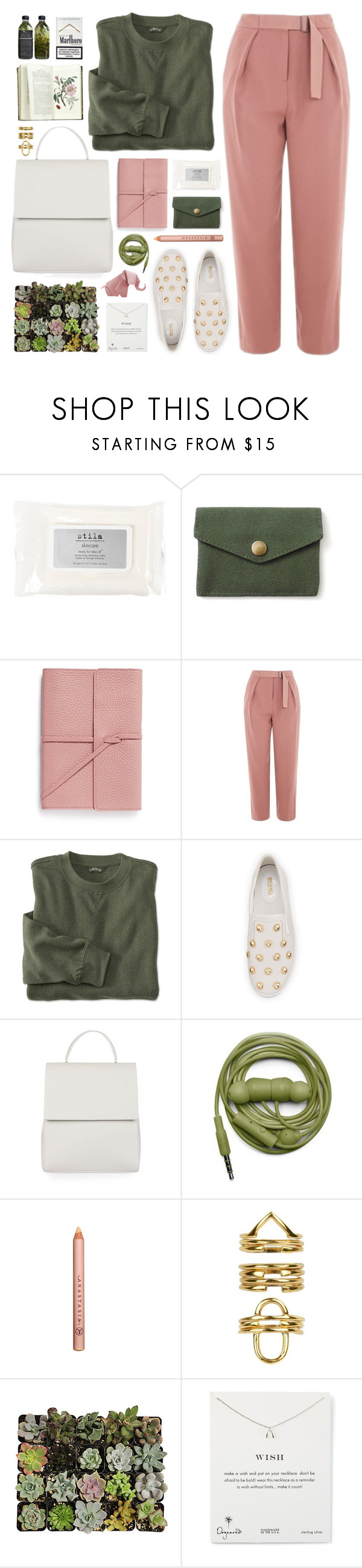 """030417"" by rosemarykate ❤ liked on Polyvore featuring Stila, Bynd Artisan, Topshop, MICHAEL Michael Kors, Urbanears, Anastasia, Bowie, Shop Succulents and Dogeared"