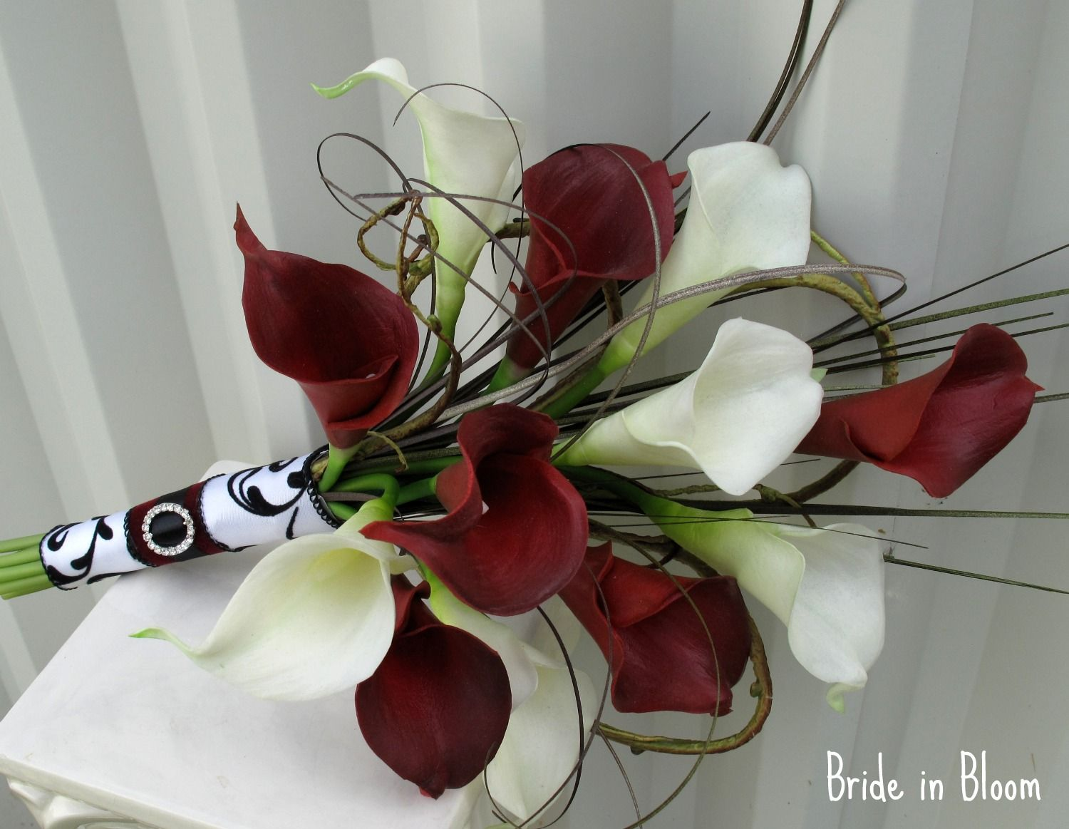 Red calla lily bouquet bride in bloom bridal bouquet real touch wedding bouquet real touch red white calla lily bridal bouquet by britney izmirmasajfo