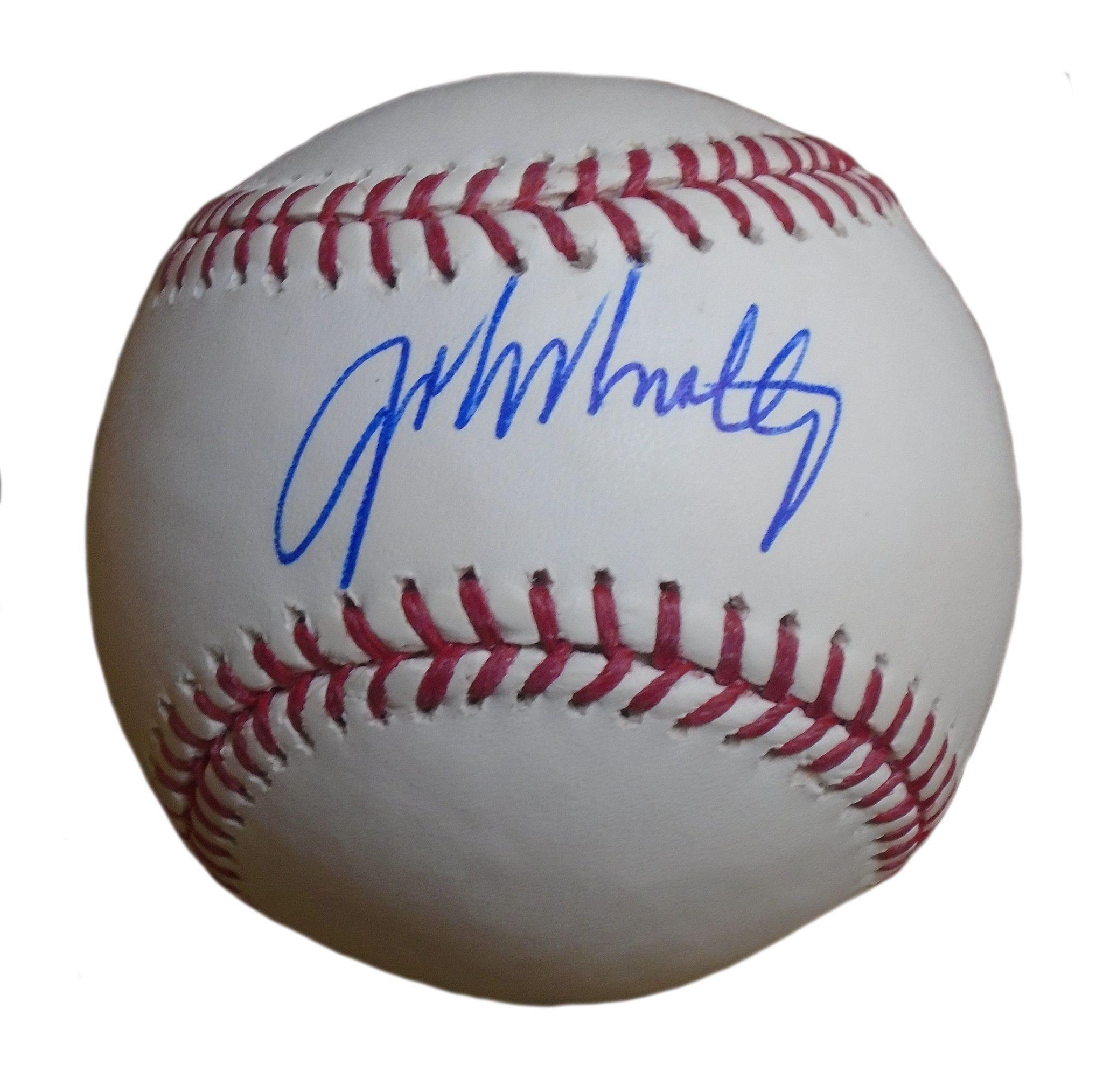 John Smoltz Autographed Rawlings Romlb Baseball Proof Photo Basketball T Shirt Designs Braves Baseball Braves