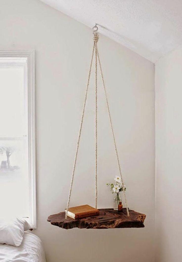 Wohnung einrichten Tipps fürs Schlafzimmer DIY Nachttisch hängend ...