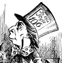 """6 X Mad Hatter Gift tags /""""IN THIS STYLE 10//6/"""" Tea Party Alice In Wonderland"""