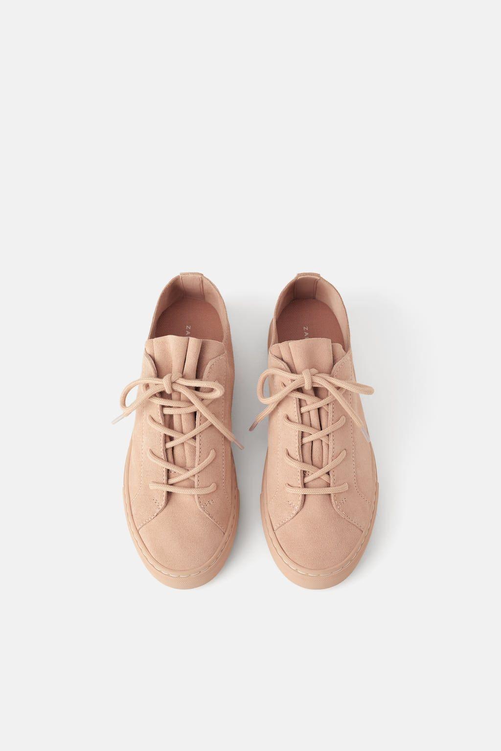 Zara Woman Split Leather Sneakers Turnschuhe Damen Lederschuhe Damen Zara Schuhe