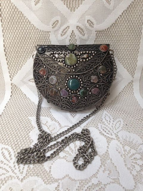 SUPER SALE Vintage Pewter and Semi-Precious Stone Filigree Purse, Indian, Ethnic, Gothic ,Hippie, Bohemian on Etsy, $56.00