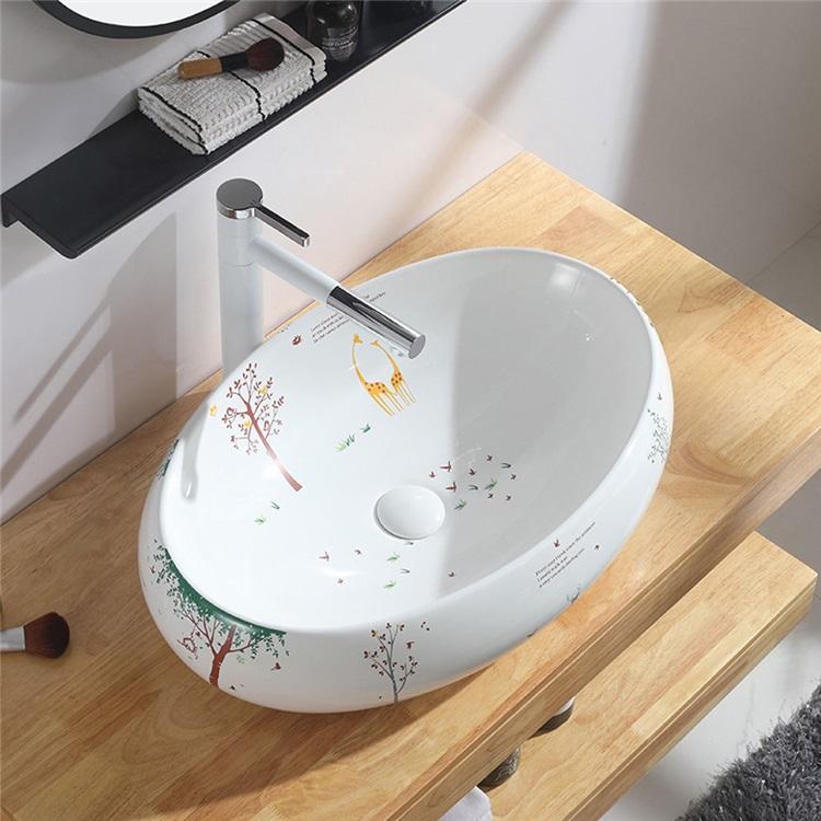手洗い鉢 洗面ボウル 手洗器 洗面ボール 陶器 楕円型 置き型 排水栓 排水トラップ付 現代陶芸 洗面ボウル 洗面ボール