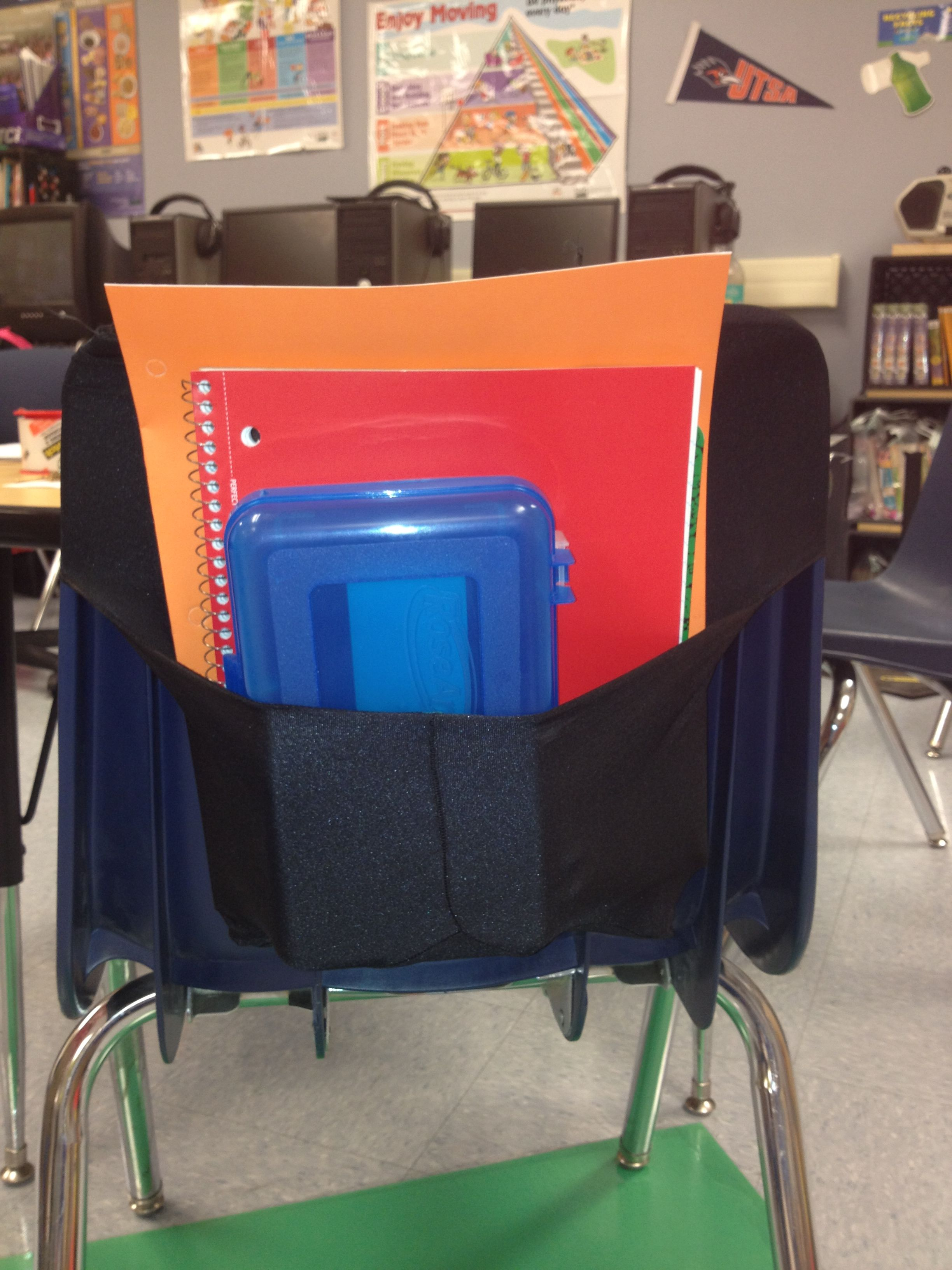 DIY Chair Pockets Take an 8 x 10 stretchable book cover Turn one