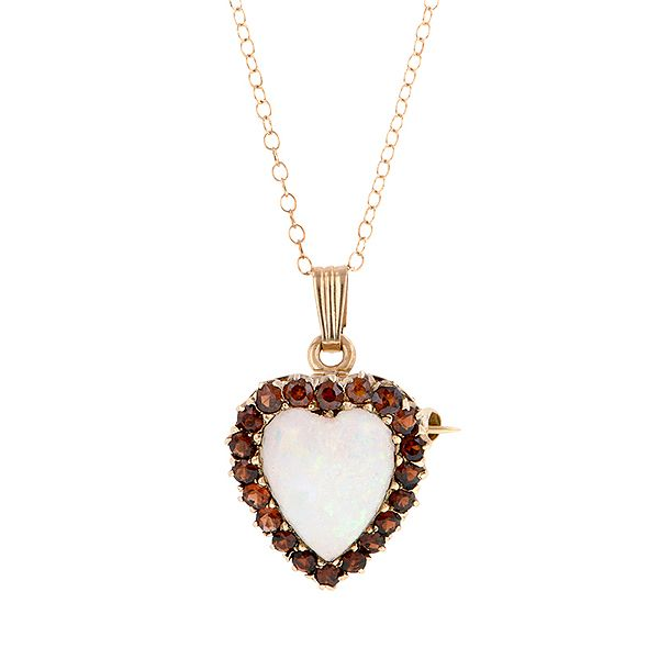 Doyle & Doyle Estate Jewelry | Item: Vintage Opal & Garnet Heart Pendant/ Pin