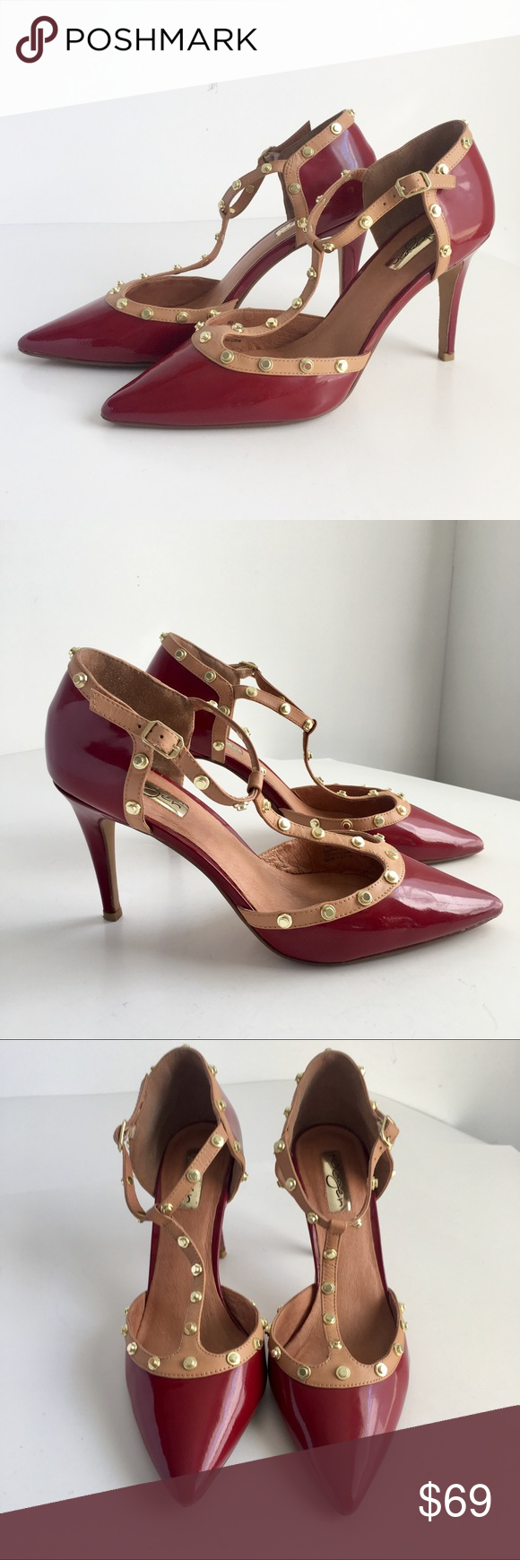 92cc174a3fc8 Halogen Studded Heels Red Patent Leather T-strap A gorgeous pair of Halogen  Heels in red patent leather with gold studded nude trim.