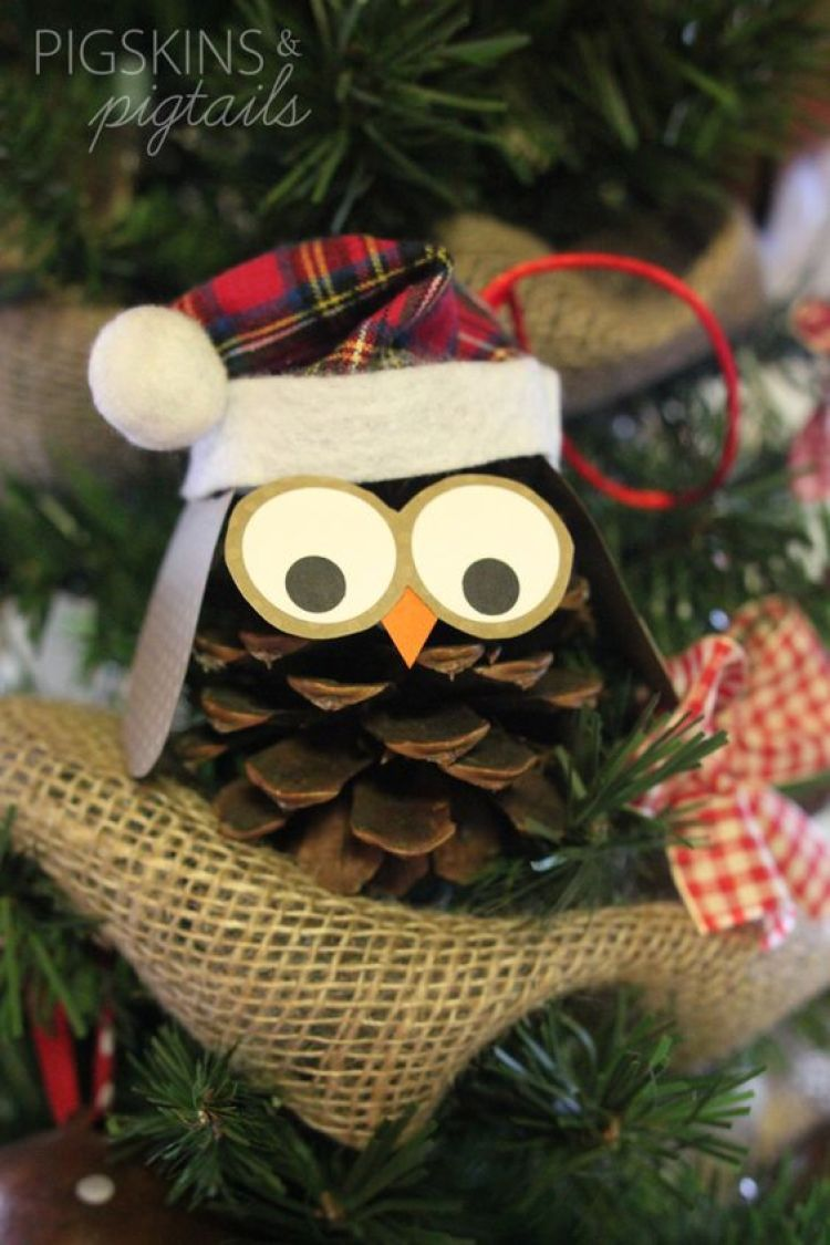 Pine Cone Christmas Craft Ideas Part - 39: Christmas Owl Pinecone Ornament Fun Crafts For Kids Project
