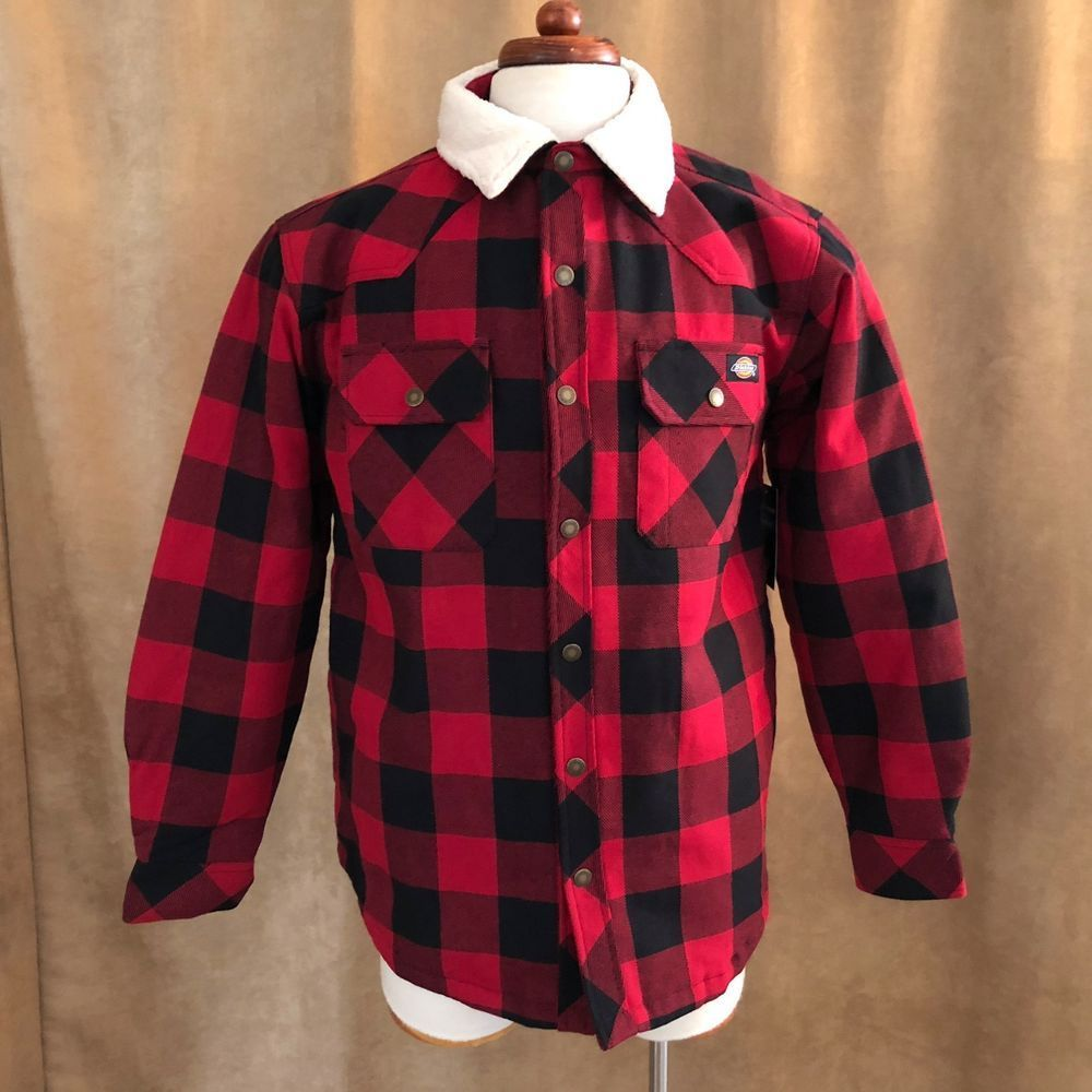 Flannel jacket with wool lining  Medium Dickies Mens Relaxed Fit Sherpa Lined Overshirt flannel red