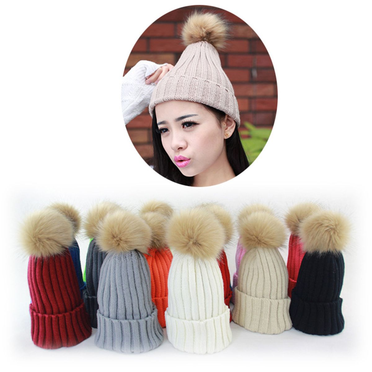 Click to Buy    Autumn Winter Women Men Beanie Hats Pom Pom Faux Fur ... f3028bc70ad2