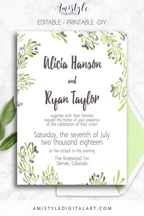Printable Wedding Invitation,Olive, Editable, PDF, Printable ...
