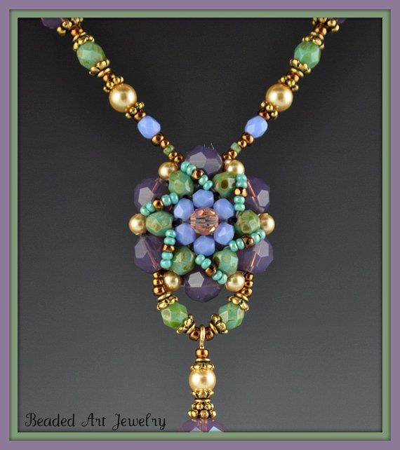 Flower Beadwoven, Beaded, Beadwork Necklace