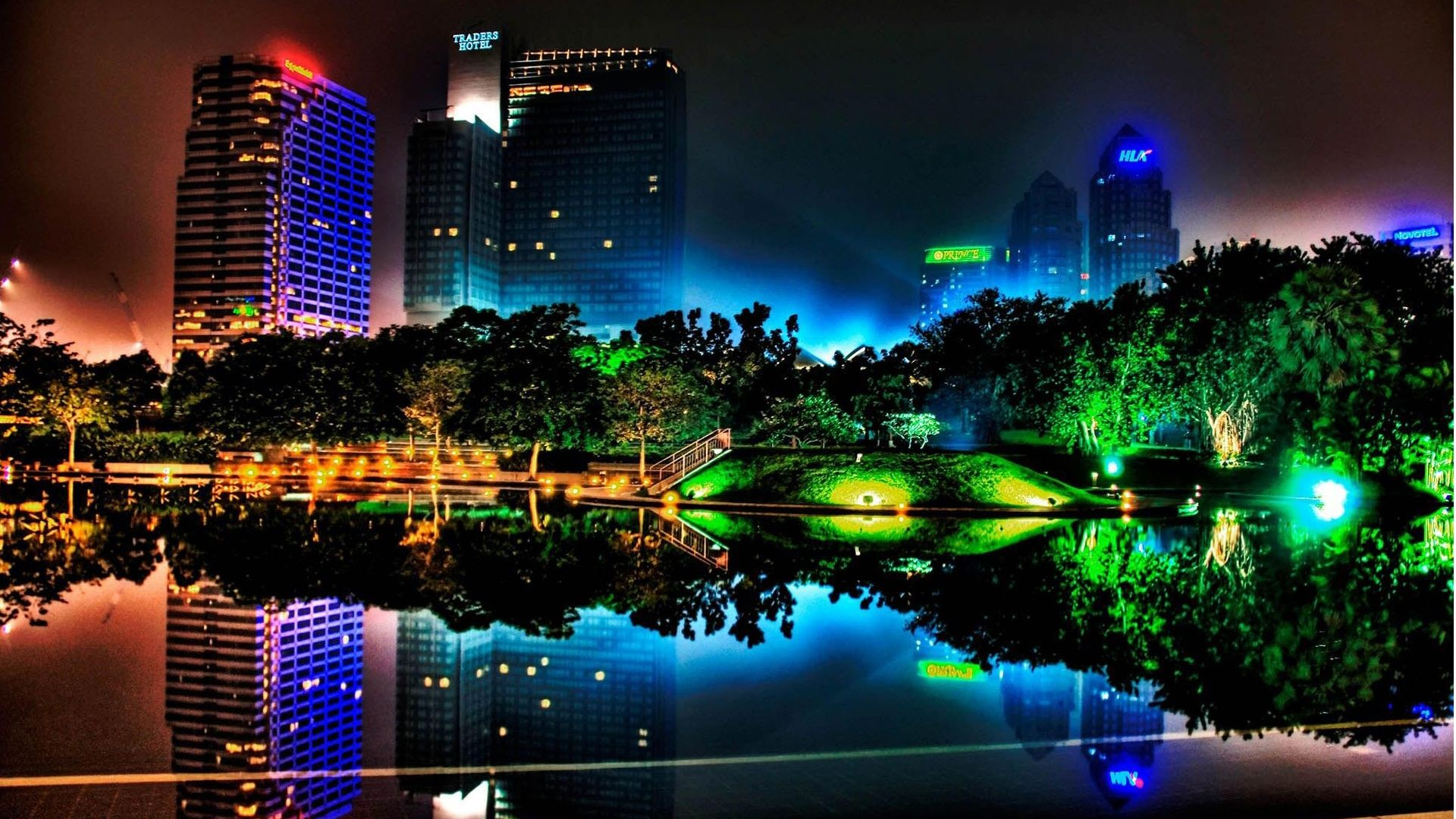 Mosaic Free Hd City Night Neon Wallpaper in Full High 1920×1080 Resolution  ...