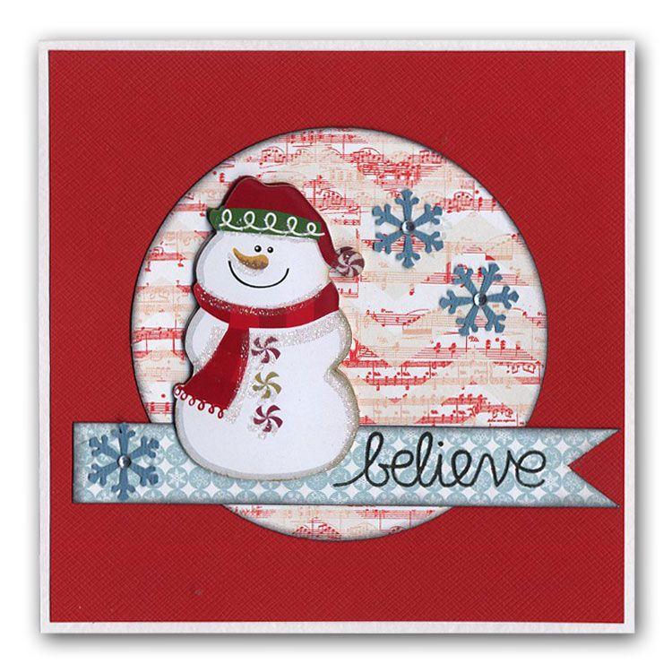 Easy Snowman Snowflake Card
