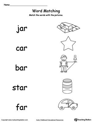 AR Word Family Picture Match | Kids Reading | Pinterest ...