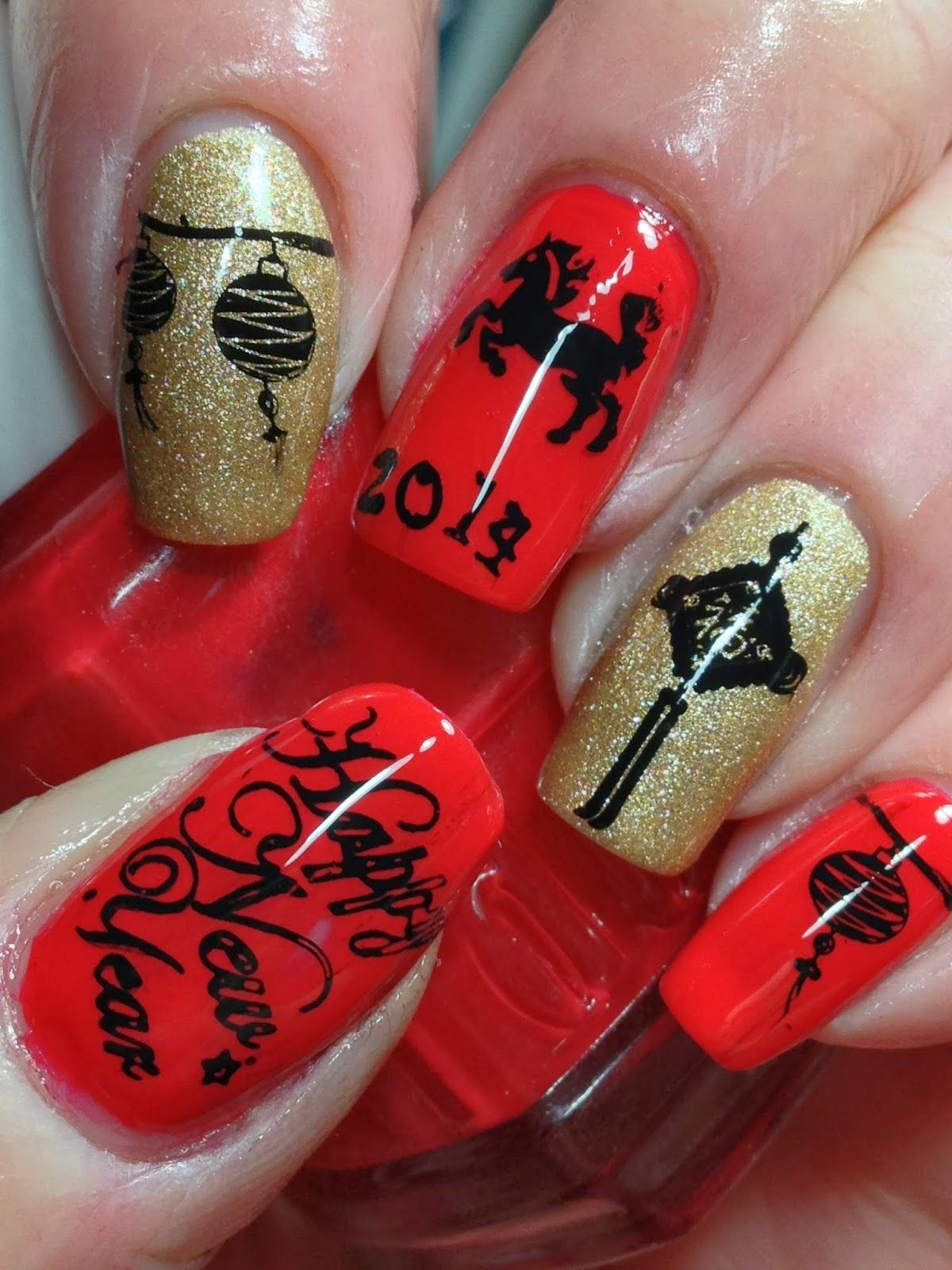 Canadian Nail Fanatic Chinese New Year. I made them and