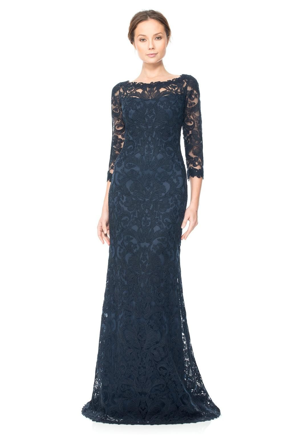 672ea301540b Tadashi Shoji Corded Embroidery on Tulle ¾ Sleeve Gown , Size: 14 | Mother  of the Bride Dresses