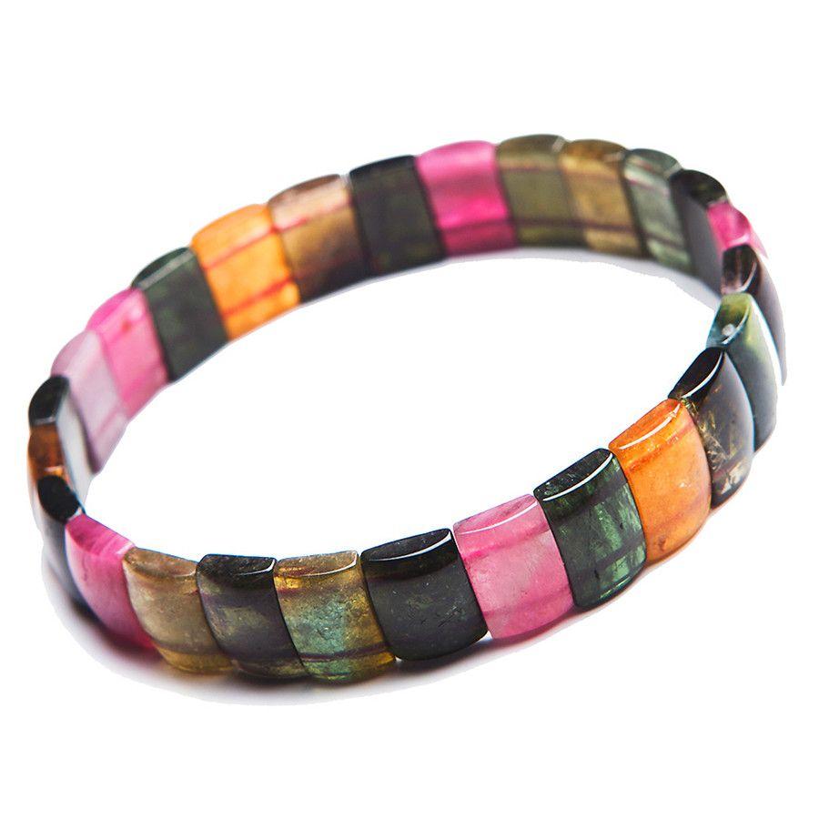 Natural mix colors tourmaline crystal stretch bracelets for women