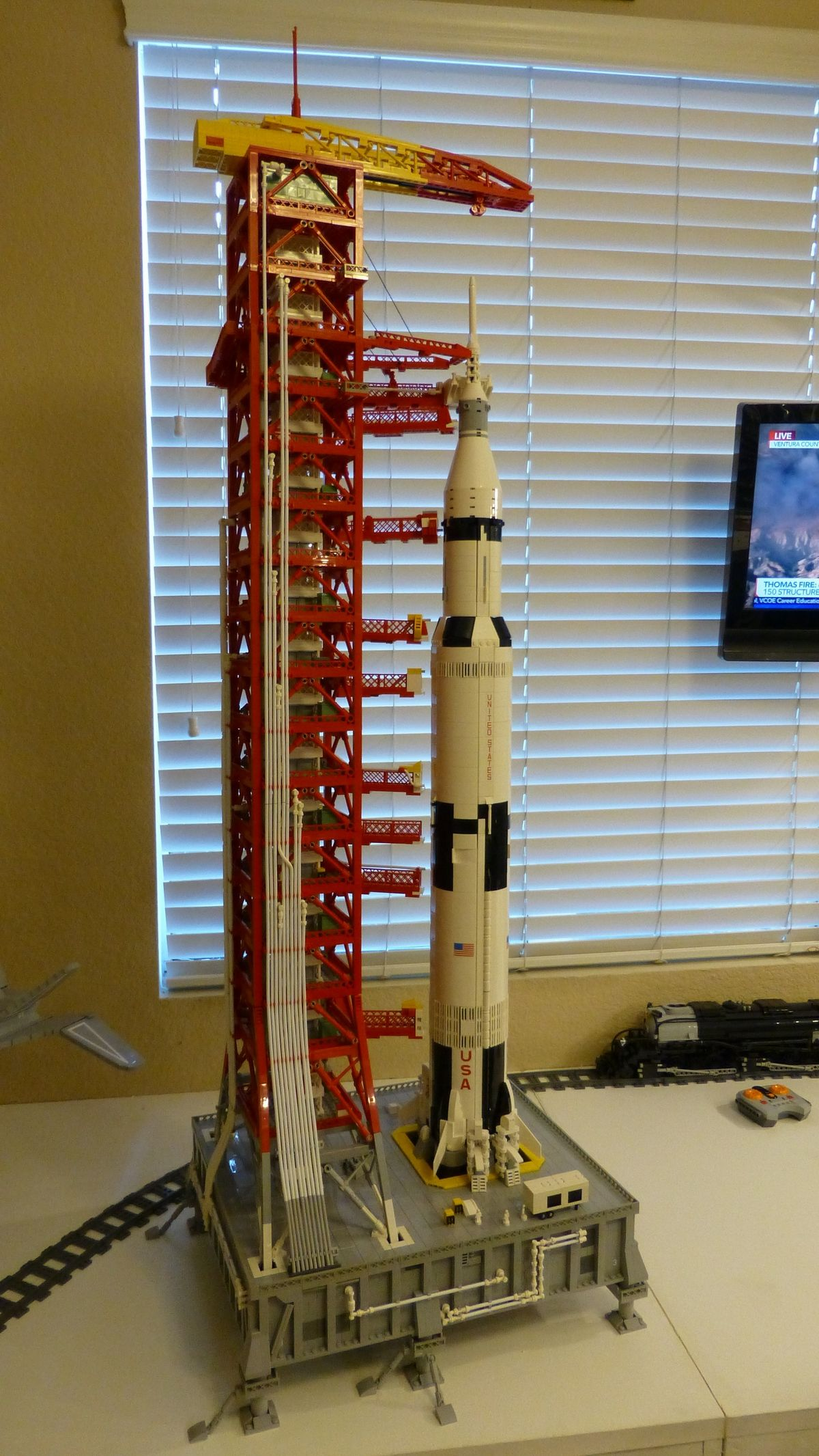 Had To Build The Launch Platform And Tower To Go With Lego S Saturn V Rocket Very Complicated Build But I Think It Came Out Pretty Lego Lego Spaceship Legos