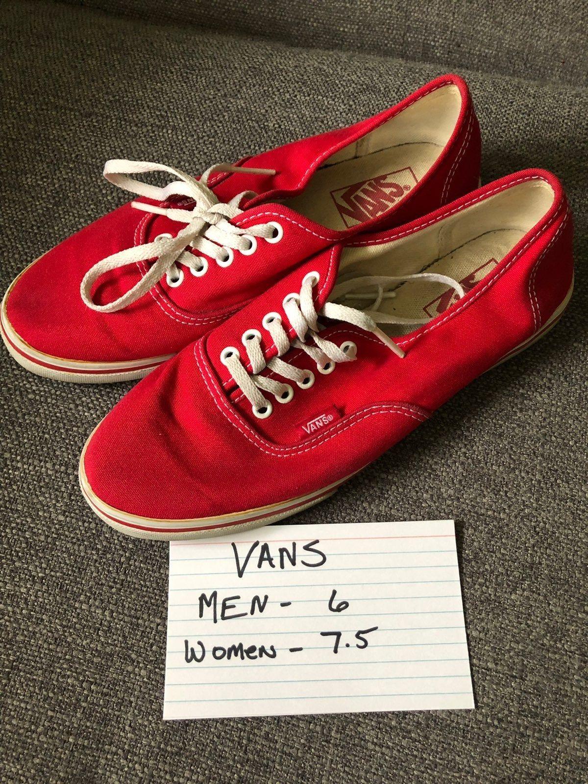 Very Nice Red Vans Men's Size 6 Women's