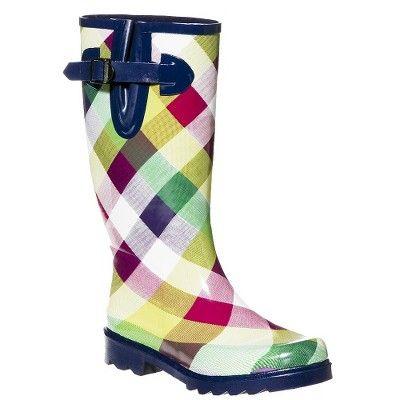 Womens Zulima Bias Plaid Rain Boots - Multicolor : Target Mobile