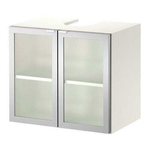 Lillången élément Bas Lavabo 2 Portes Blanc Aluminium