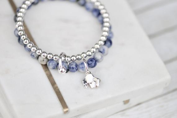 Photo of Lucky Sterling Silber AG925 Armband mit Origami Elefanten Anhänger, Naturstein Sodalite und Sterlingsilber zwei Saiten Armband für sie
