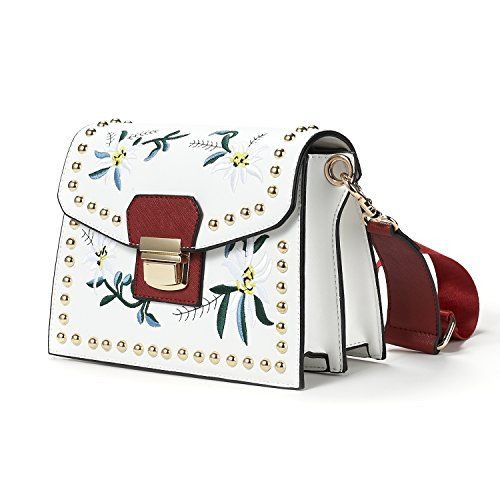 b664699022a DORIA DORE Rivet Crossbody Bags for Women DORIA DORE Flower Embroidery  Style Shoulder Bag Cross Body Purse