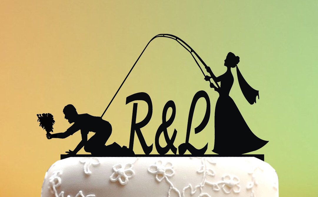 Wedding Cake Topper - cake topper Fishing Couple - Groom and Bride ...