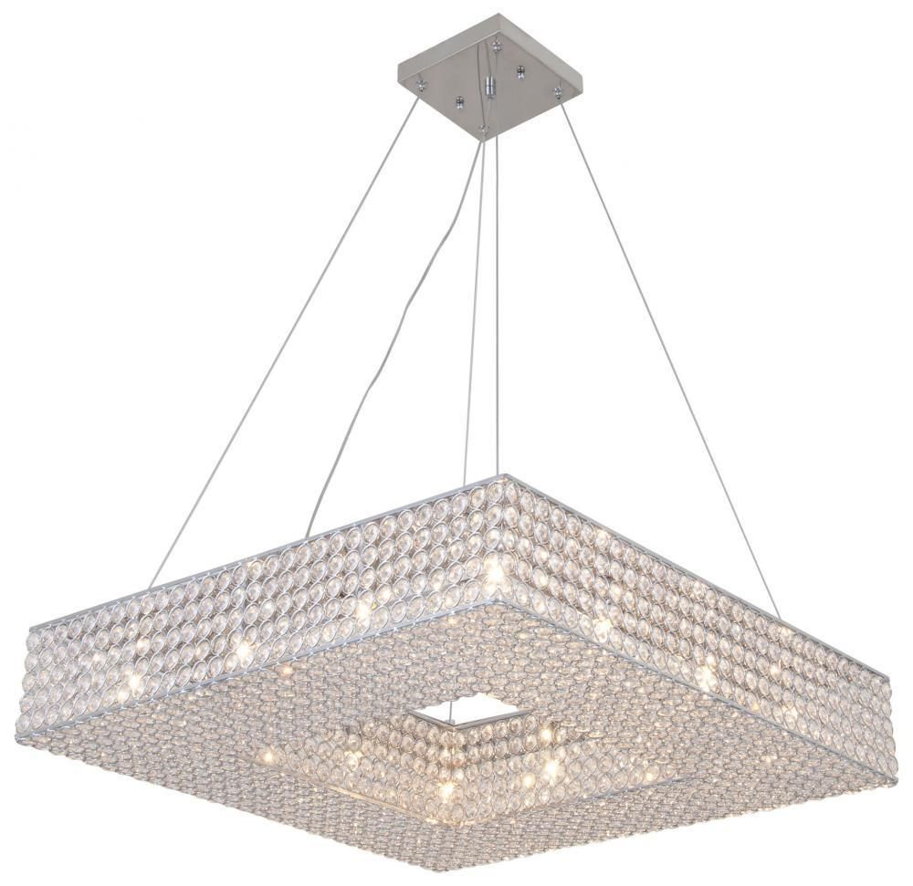 New 12 Light Square Crystal Shade Chandelier Pendant Chrome 24 X 24 Helsinki Chandelier Chandelier Lighting Chandelier Shades