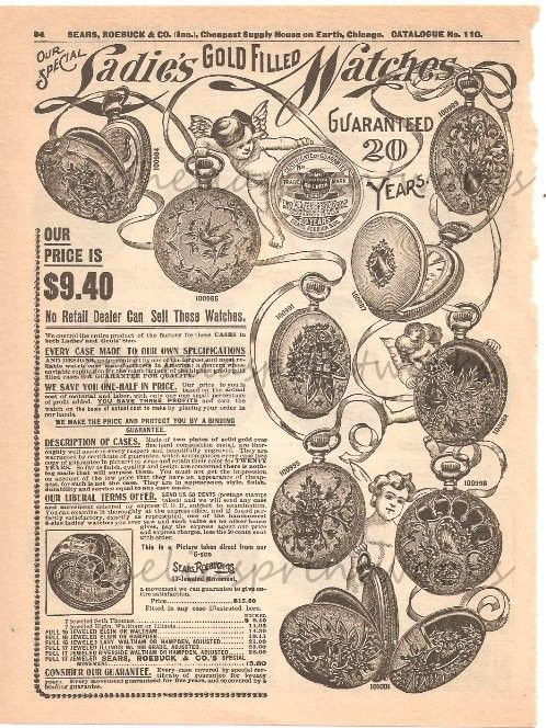 17524a41be 1900 Sears Roebuck Womens Gold Filled Vintage Watch Ad Victorian ...